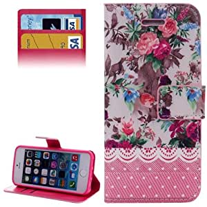 Peony Pattern Case Cover tapa Funda con bolsillos interiores & & Holder para iPhone 5, 5S