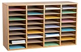 AdirOffice Wood Adjustable Literature Organizer (36 Compartment, Medium Oak)