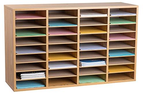 Sorter Mail Compartment 36 - AdirOffice Wood Adjustable Literature Organizer (36 Compartment, Medium Oak)