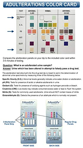 5 Pack Identify Diagnostics 7 Panel Drug Test Dip with 3 Adulterants OX,  CRE, pH - Testing