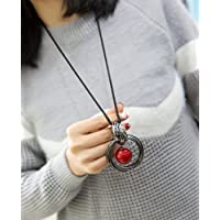 ERAWAN Fashion Womens Jewelry Circle Red Pearl Pendant Statement Chain Sweater Necklace EW sakcharn
