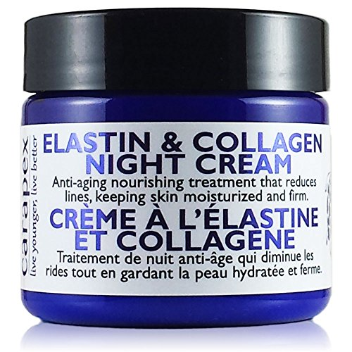 Carapex Natural Anti-aging Night Cream with Elastin & Collagen, for Dry to Combination Skin, Fragrance Free, Perfect for Sensitive Skin, 2oz
