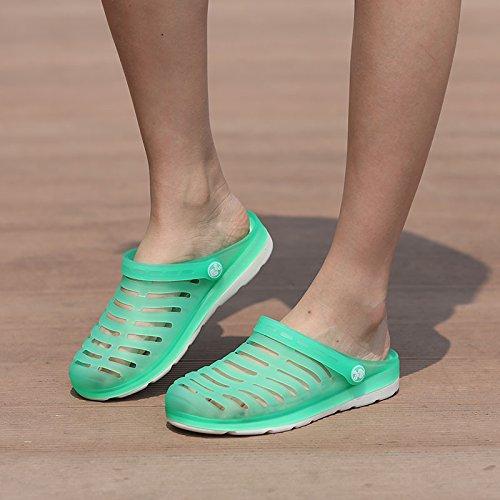 Xing Lin Sandalias De Hombre Los Hombres Del Agujero De Verano Zapatos Zapatillas Zapatillas De Playa Mujeres Transpirable Tendencia Mitad Zapatillas Par Sandalias De Gran Tamaño Jade green