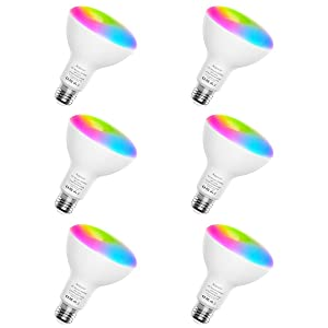 Smart Light Bulbs, Aoycocr BR30 Dimmable LED Light Bulbs, 720 Lumen, Tunable White 2700K - 9000K,9 (80W Equivalent), Works with Alexa, Google Assistant, IFTTT, No Hub Required, Wi-Fi, E26 Base, 6 Pack