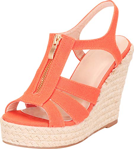 Cambridge Select Women's Open Toe Cutout Caged Zip Espadrille Chunky Platform Wedge Sandal,10 B(M) -