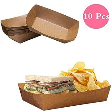 10 bandejas de papel para alimentos desechables de Dylandy, cajas para cuencos, barcos, para cocina, fiesta, alimentos, aperitivos (grande): Amazon.es: ...