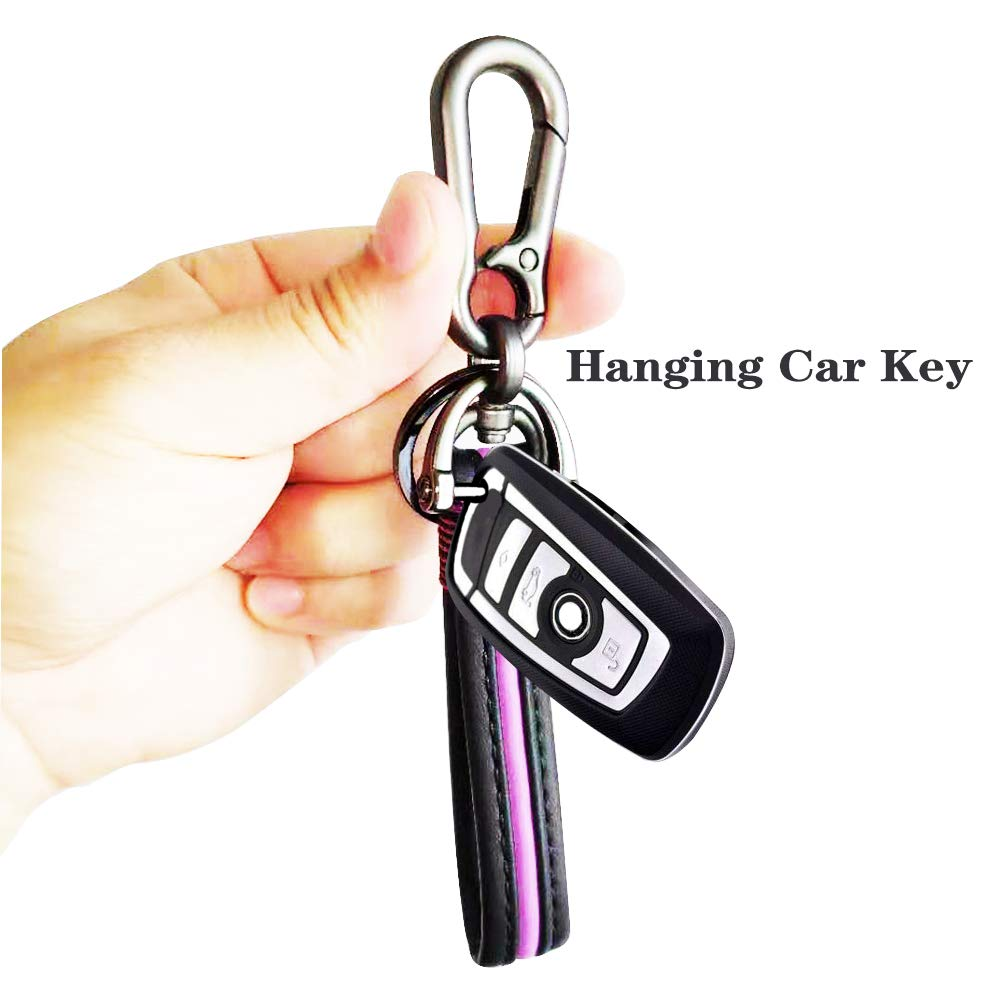 HISENH Key Chain Daily Use at Home Elegant Handmade Premium Quality Wristlet Strap Premium Leather Retro Style Simple Strong Zinc Alloy Heavy Duty Business Key Chain Loop for Men Women in Gift Purple