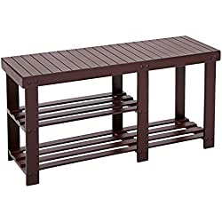 SONGMICS Bamboo Shoe Rack Bench for Boots,Entryway Storage Organizer, 2 Tiers Shoe Shelf,Multi Function for Hallway Bathroom Living Room Corridor and Garden Brown ULBS06Z