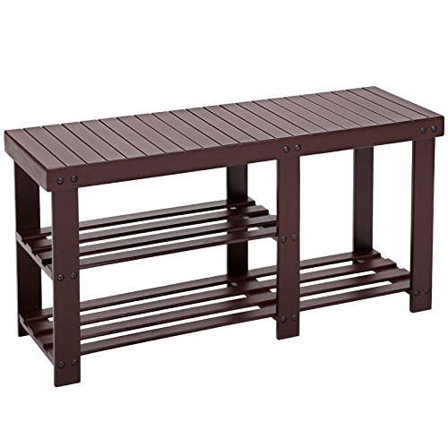 SONGMICS Bamboo Shoe Bench Rack Storage Organizer 2 Tiers for Shoes Boots Brown ULBS06Z (Small Entryway Bench With Storage)