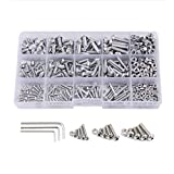 VANSSI 483Pcs 12 Sizes Screw and Nuts Kit,M2 M3 M4 Stainless Steel Assorted Hex Socket Head Cap Bolts Screws Nuts Assortment Set Kit with Hex Wrenches(Button Head)