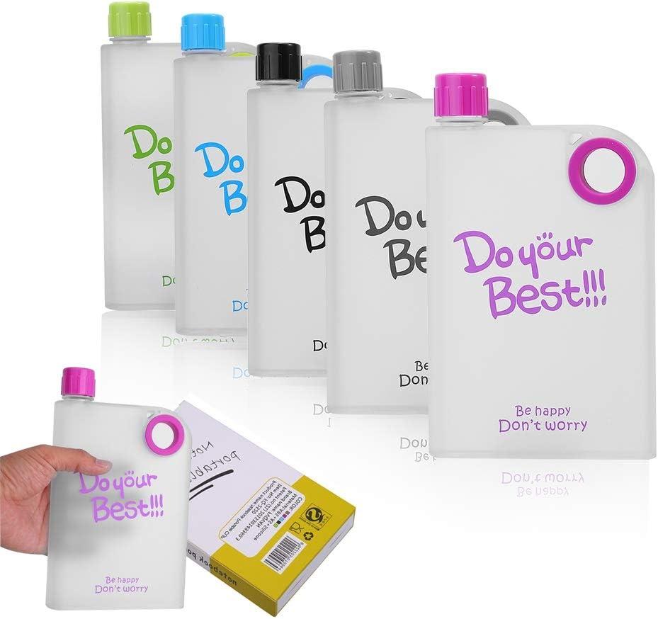 2019 LA Nueva Botella De Agua Plástica Plana Reutilizable, Forma Especial De Libro De Diseño Memo De Plástico Botella De Agua Portátil Plana (380 Ml)