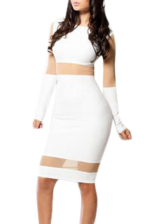 DANJIESHI Women's Nigthclub Sexy Perspective Tight Long-Sleeve Dress