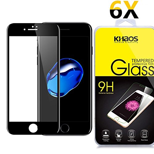 [6-Pack] Khaos For Apple iPhone 8 HD Clear Tempered Glass Screen Protector ,3D Full Cover with Lifetime Replacement Warranty -Black