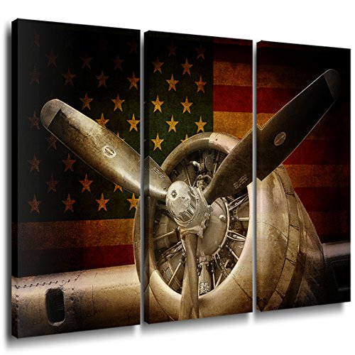 (Vintage Fighter Bomber Head Propeller Canvas Prints Wall Art Pictures Warplanes print on canvas Retro Red and Yellow American Flag with Military Aircraft Black and White Metallic Body Plane 3)