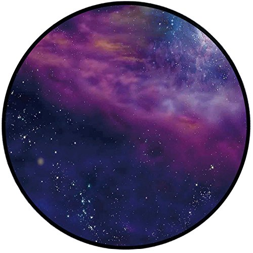Printing Round Rug,Outer Space Decor,Spiritual Dim Star Clusters Milky Circle Back with Solar System Elements Mat Non-Slip Soft Entrance Mat Door Floor Rug Area Rug For Chair Living Room,Purple Blue by iPrint