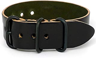 product image for DaLuca Shell Cordovan 1 Piece Military Watch Strap - Black (PVD Buckle) : 26mm