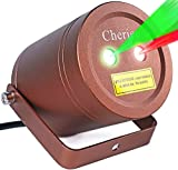 Christmas Laser Lights Outdoor Moving Star Projector Waterproof IP65 Decoration Red & Green Aluminum Laser Show Light Model-ARG in Bronze By Cheriee