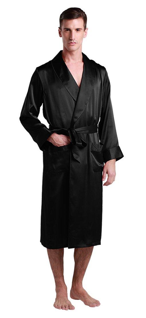 LILYSILK Men's Silk Robe Long Tea Length Lapel Collar 22 Momme Pure Silk Black Size 40/L