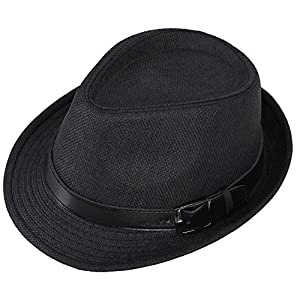 Simplicity Panama Style Fedora Straw Sun Hat with Leather Belt