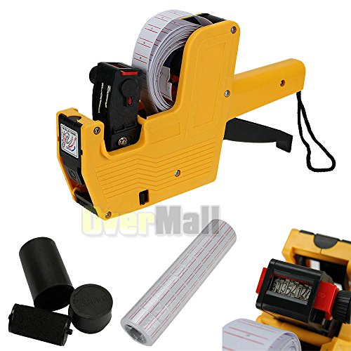 Line Labels Gun (Yellow MX-5500 8 Digits Price Tag Gun + 5000 White w/ Red lines labels +1 Ink US)