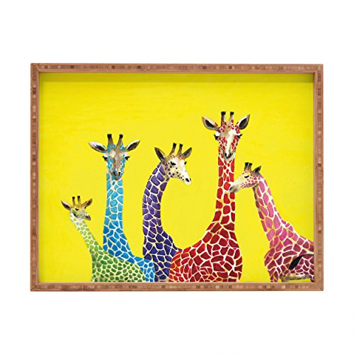 (Deny Designs Clara Nilles Jellybean Giraffes Indoor/Outdoor Rectangular Tray, 14 x 18)