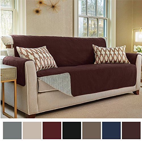 "Gorilla Grip Original Slip-Resistant Furniture Protector, Suede-Like Material, Slip Reducing Backing, Two 2"" Thick Straps, and Two Seat Anchors, Perfect for Kids, Dogs, Cats, Pets (Sofa: Coffee)"