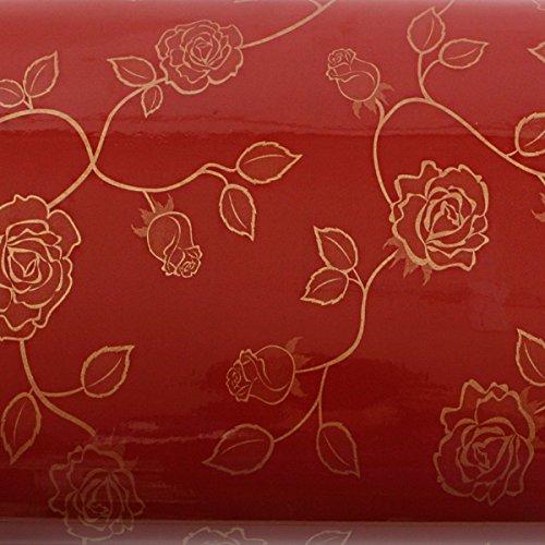 (ROSEROSA Peel and Stick PVC Instant Floral Decorative Self-Adhesive Film Countertop Backsplash Rose Vine Red Wine Gold (PGS9157-2 : 1.96 Feet X 8.20 Feet))