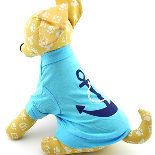 ZUNEA Small Dog Clothes for Male Summer Anchor Pattern Shirt T-shirt Jumper Blue (Small Dog Jumper)