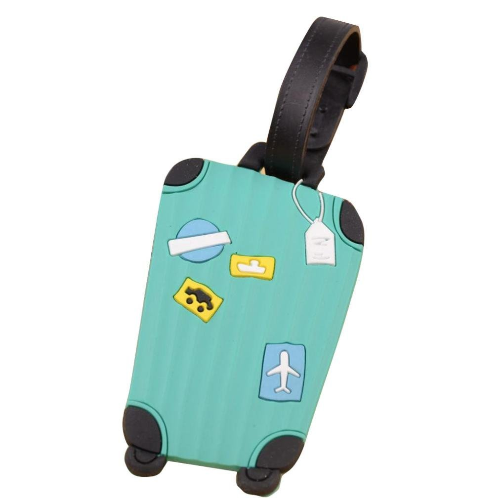 Fullkang Cute Cartoon Suitcase Luggage Tags ID Address Holder Silicone Identifier Label (Mint Green)