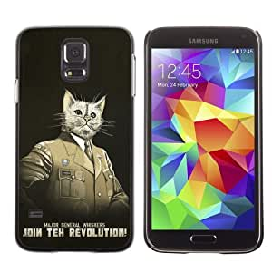 Licase Hard Protective Case Skin Cover for Samsung Galaxy S5 - General Whiskers Cat