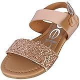 bebe Girls Metallic Sandals With Chunky Glitter Strap, Rose Gold, 13 M US Little Kid'