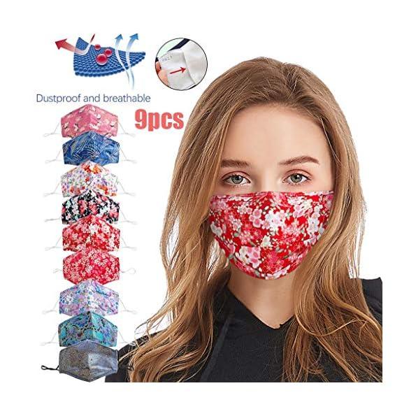 Snakell-9-Stck-Behelfschutz-Unisex-Mundschutz-mit-Motiv-Waschbar-Mund-und-Nasenschutz-Baumwolle-Stoff-Gesichtsschutz-Bunt-Wiederverwendbar-Staubdicht-Multifunktional-Halstuch