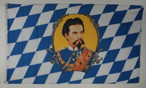 Flaggenking Flagge/Fahne, Bayern König Ludwig, wetterfest, mehrfarbig, 150x90x1 cm, 16355