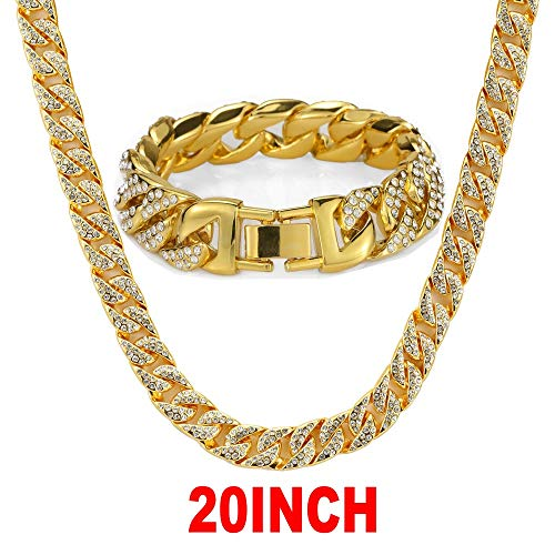 Mandy Hip Hop 14MM Cuban Chains 18K Gold Plated CZ Fully Iced-Out Miami Necklace Bracelet Set (20) from Mandy