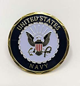 Navy Challenge Coin with Adhesive Back by Falling Rock Media