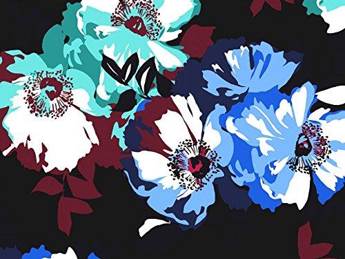 Sateen Print Dress - John Kaldor Floral Print Cotton Sateen Dress Fabric Navy & Aqua - per metre