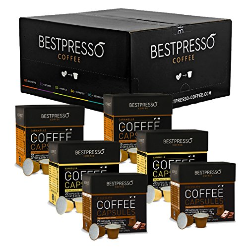 Nespresso Compatible Gourmet Coffee Capsules-120 Pod Variety Pack Caramel,Vanilla&Chocolate-For Original Line Nespresso Machine-Certified Genuine Espresso By Bestpresso-60 Days Satisfaction Guarantee
