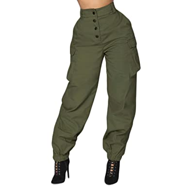 399fb0da14 vermers Women Harem Pants, High Waist Elastic Waist Stripe Casual Trousers(S,  Army