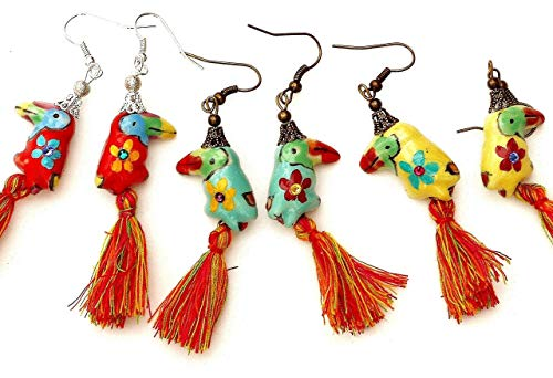 Whimsical Colorful Toucan Bird Tassel Earrings with Painted Flowers and Swarovski Crystal Rhinestones ()
