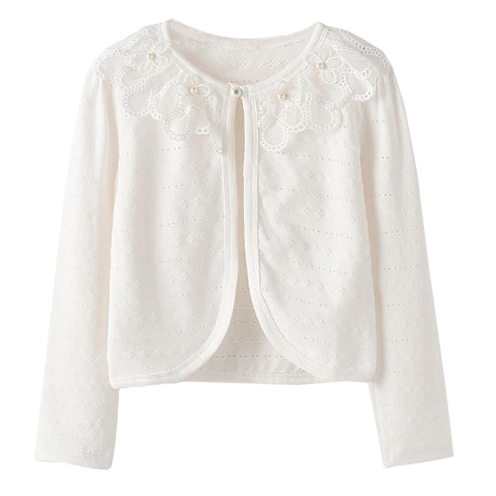 Zhuannian Little Girls Pointelle Shrug Cotton Cardigan White) Car-o-w140