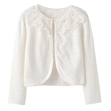 Amazon.com: ZHUANNIAN Little Girls Pointelle Shrug Cotton Cardigan ...