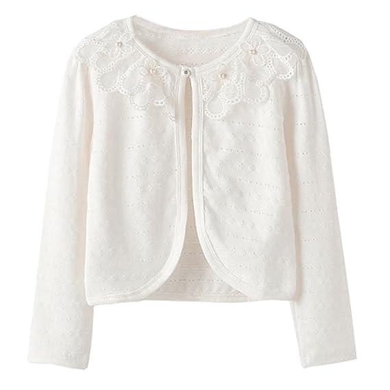 8890023d8 ZHUANNIAN Girls Long Sleeve Bolero Shrug Lace Flower Cardigan Light ...