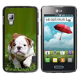 PC/Aluminum Funda Carcasa protectora para LG Optimus L5 II Dual E455 E460 Boston Bulldog Terrier Puppy Green Summer / JUSTGO PHONE PROTECTOR