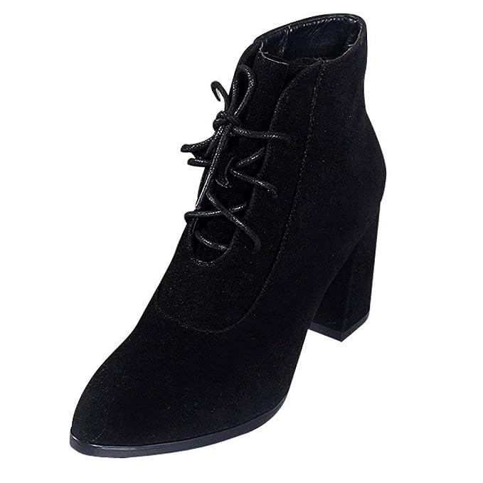 POLP Botas de Mujer Botines para Adulto Zapatos Otoño Invierno 2018 Caliente Snow Botín Corto Tacon Alto Plataforma Zapatos Redonda 35-43CN: Amazon.es: Ropa ...