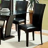Manhattan Dark Cherry Finish Black Leatherette Padded Dining Chairs (Set of 2)