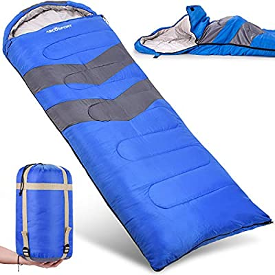Sleeping Bag - Lightweight, Waterproof, Compact with Compression Sack - For Adults, Kids and Boys - Great for 4 Season Traveling, Backpacking, Hiking, Outdoor - Best Camping Gear and Equipment (New)