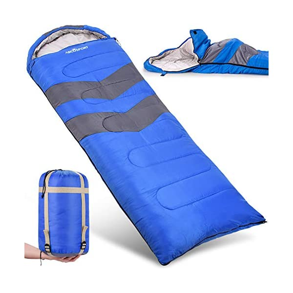 Sleeping Bag - Lightweight, Waterproof, Compact with Compression Sack - For Adults, Kids and Boys - Great for 4 Season Traveling, Backpacking, Hiking, Outdoor - Best Camping Gear and Equipment (New) 3