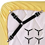 Bed Sheet Fasteners, 4 PCS Adjustable Triangle Elastic Suspenders Gripper Holder Straps Clip for Bed Sheets,Mattress Covers, Sofa Cushion