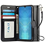 J&D Case Compatible for OnePlus 6T Case, [Wallet Stand] [Slim Fit] Heavy Duty Protective Shock Resistant Flip Cover Wallet Case for OnePlus 6T Wallet Case - Black