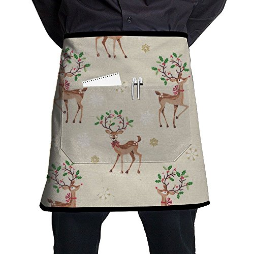 Kjiurhfyheuij Half Short Aprons Deer Funny Cartoon Waist Apron With Pockets Kitchen Restaurant For Women Men Server